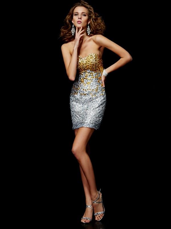 Short/Mini Sheath/Column Sweetheart Sleeveless Beading Lace Dresses
