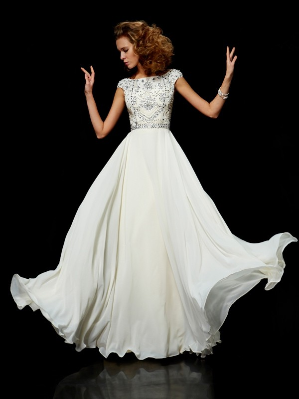 Floor-Length Ball Gown High Neck Short Sleeves Beading Chiffon Dresses