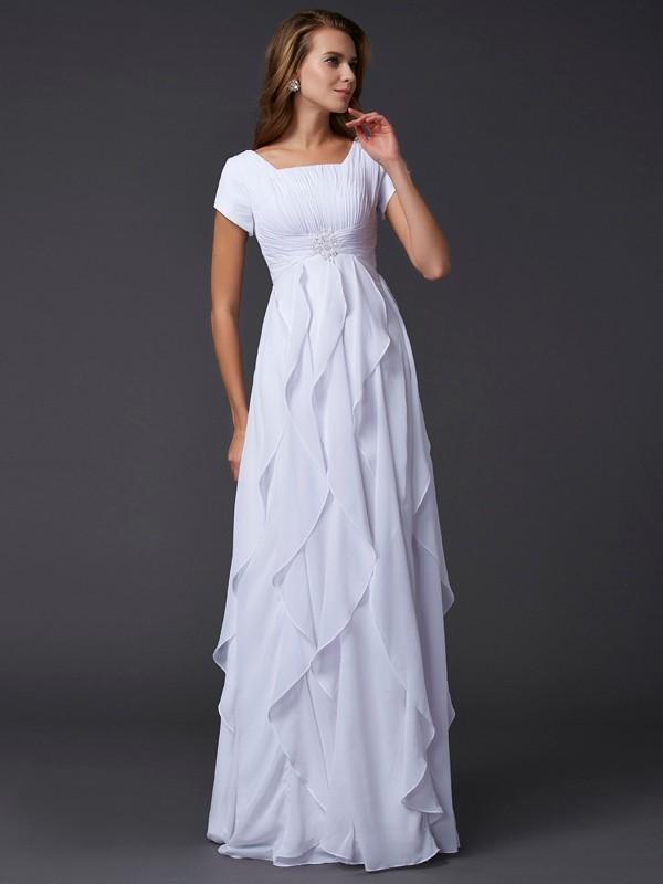 Floor-Length Sheath/Column Square Short Sleeves Ruffles Chiffon Dresses