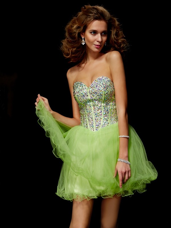 Short/Mini A-Line/Princess Sweetheart Sleeveless Sequin Elastic Woven Satin Dresses