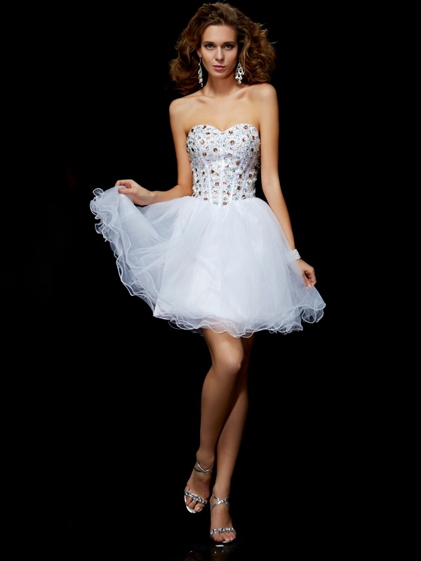Short/Mini Sheath/Column Sweetheart Sleeveless Crystal Elastic Woven Satin Dresses
