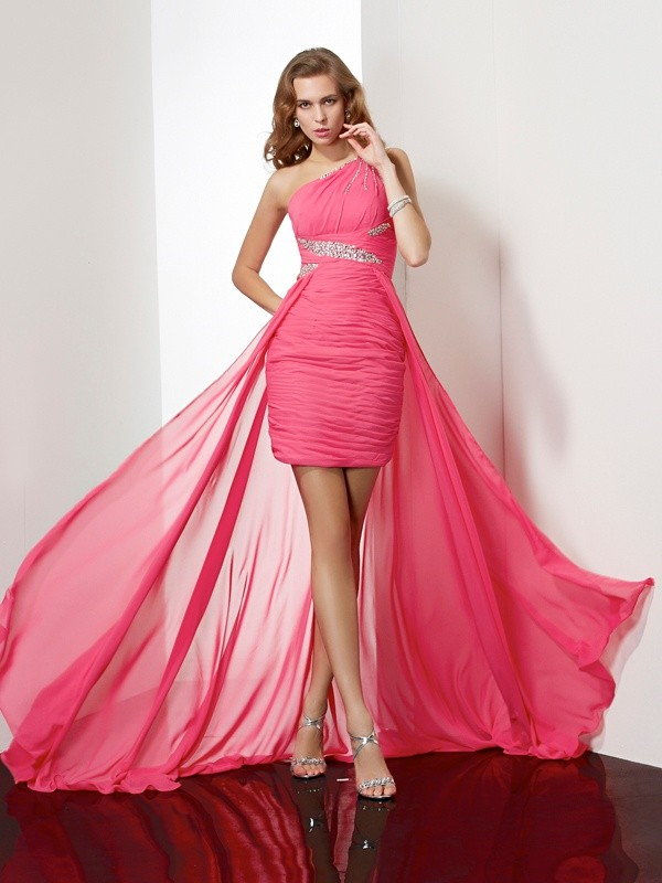Short/Mini Sheath/Column One-Shoulder Sleeveless Beading Chiffon Dresses