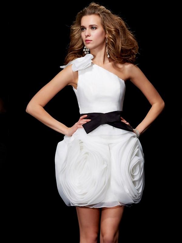 Short/Mini Sheath/Column One-Shoulder Sleeveless Other Tulle Dresses