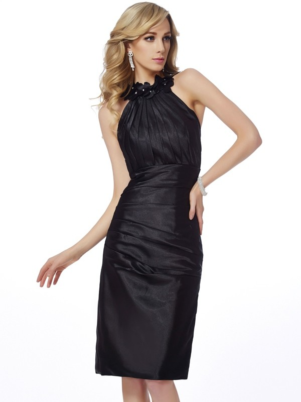 Knee-Length Sheath/Column Bateau Sleeveless Applique Elastic Woven Satin Dresses