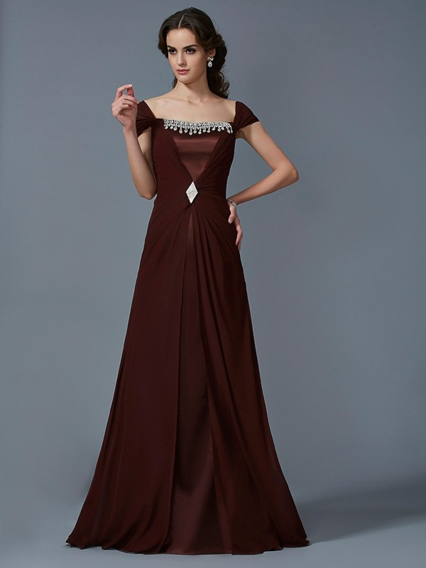 Floor-Length A-Line/Princess Strapless Short Sleeves Other Chiffon Dresses