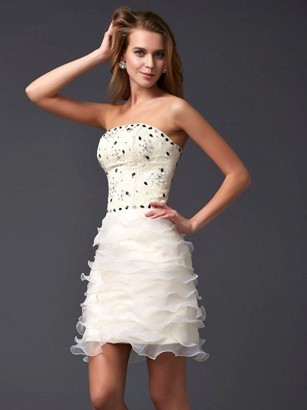 Short/Mini Sheath/Column Strapless Sleeveless Beading Tulle Dresses