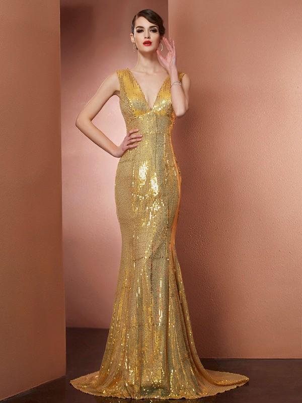 Chapel Train A-Line/Princess V-neck Sleeveless Paillette Satin Dresses