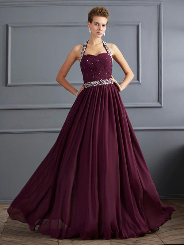 Floor-Length Sheath/Column Halter Sleeveless Beading Chiffon Dresses