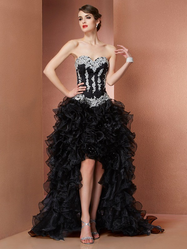 Asymmetrical A-Line/Princess Sweetheart Sleeveless Beading Organza Dresses