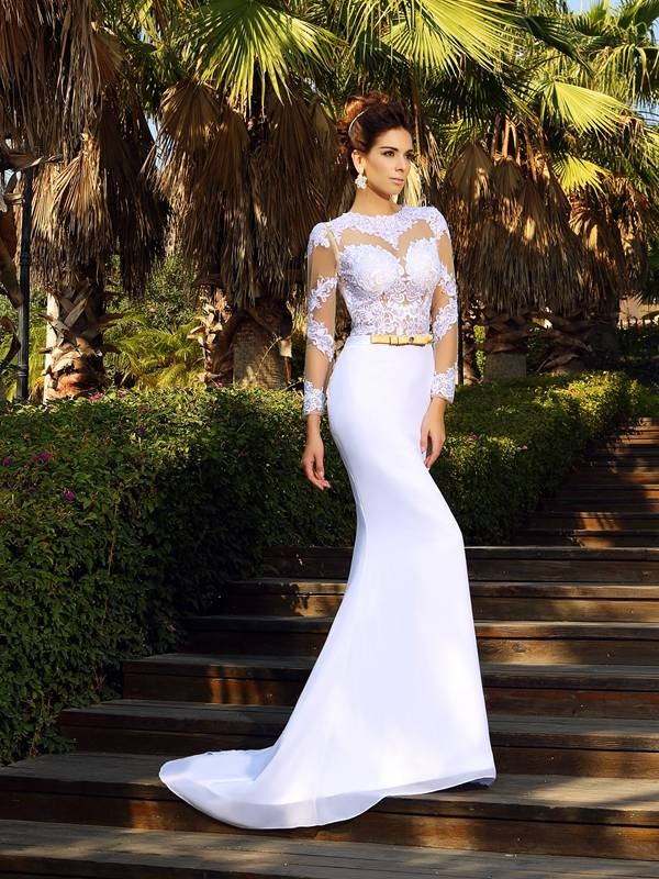 Court Train Sheath/Column Scoop Long Sleeves Applique Satin Wedding Dresses