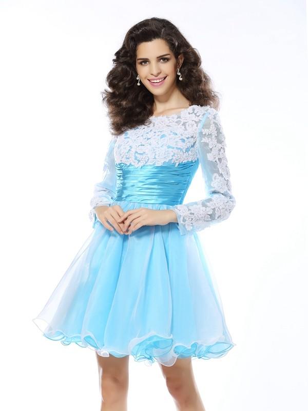 Short/Mini A-Line/Princess Scoop Long Sleeves Applique Elastic Woven Satin Dresses