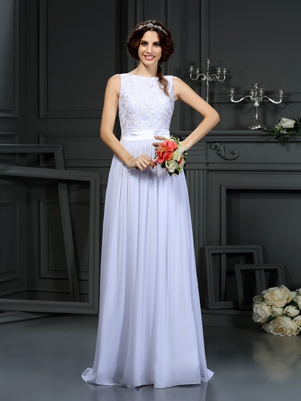 Floor-Length A-Line/Princess Scoop Sleeveless Lace Chiffon Wedding Dresses