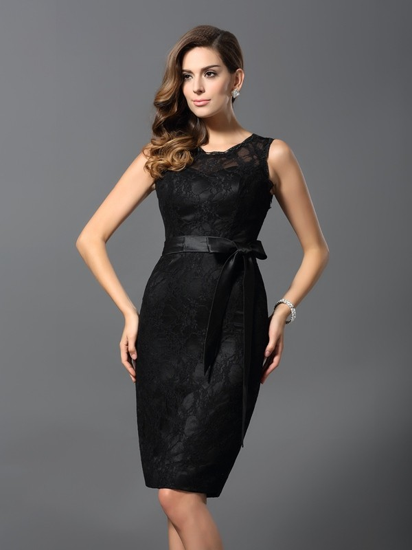 Knee-Length Sheath/Column Jewel Sleeveless Lace Satin Dresses