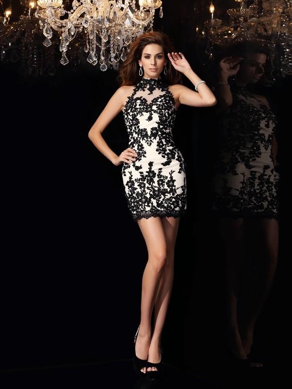 Short/Mini Sheath/Column High Neck Sleeveless Beading Chiffon Dresses