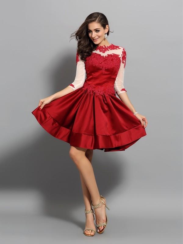 Short/Mini A-Line/Princess High Neck 1/2 Sleeves Applique Satin Dresses