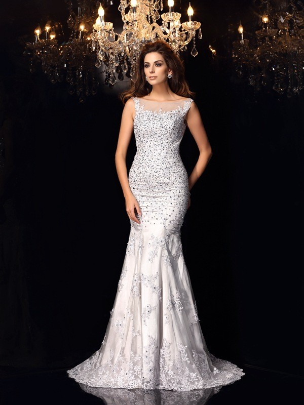 Chapel Train Trumpet/Mermaid Scoop Sleeveless Beading Tulle Dresses