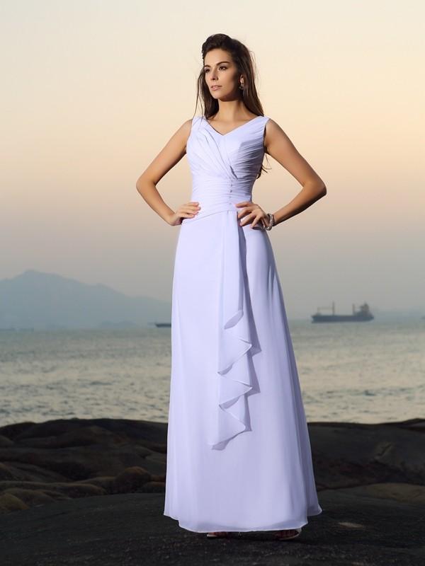 Floor-Length A-Line/Princess V-neck Sleeveless Beading Chiffon Wedding Dresses