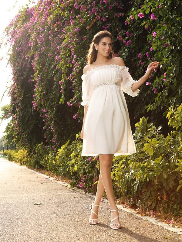 Knee-Length A-Line/Princess Off-the-Shoulder 1/2 Sleeves Beading Chiffon Wedding Dresses