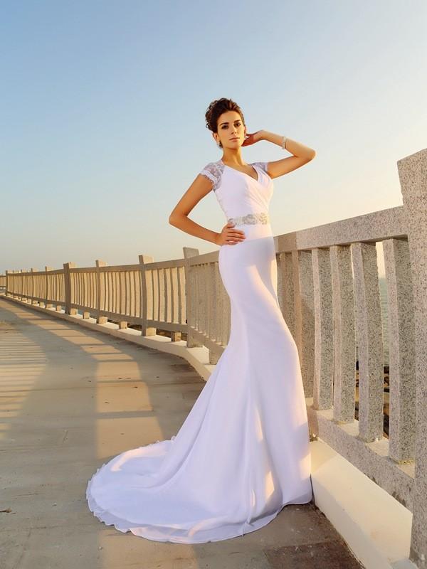 Court Train Sheath/Column V-neck Sleeveless Beading Chiffon Wedding Dresses