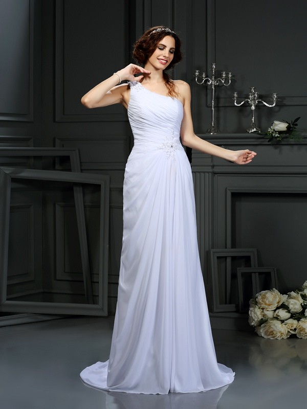 Court Train A-Line/Princess One-Shoulder Sleeveless Pleats Chiffon Wedding Dresses