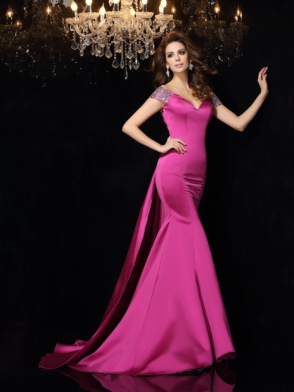 Court Train Trumpet/Mermaid Off-the-Shoulder Sleeveless Beading Satin Dresses