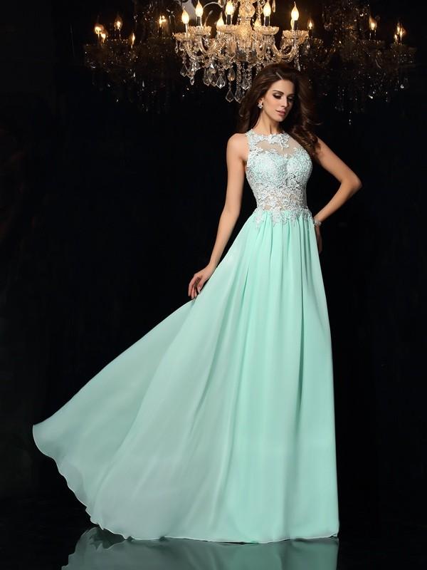 Sweep/Brush Train A-Line/Princess High Neck Sleeveless Applique Chiffon Dresses