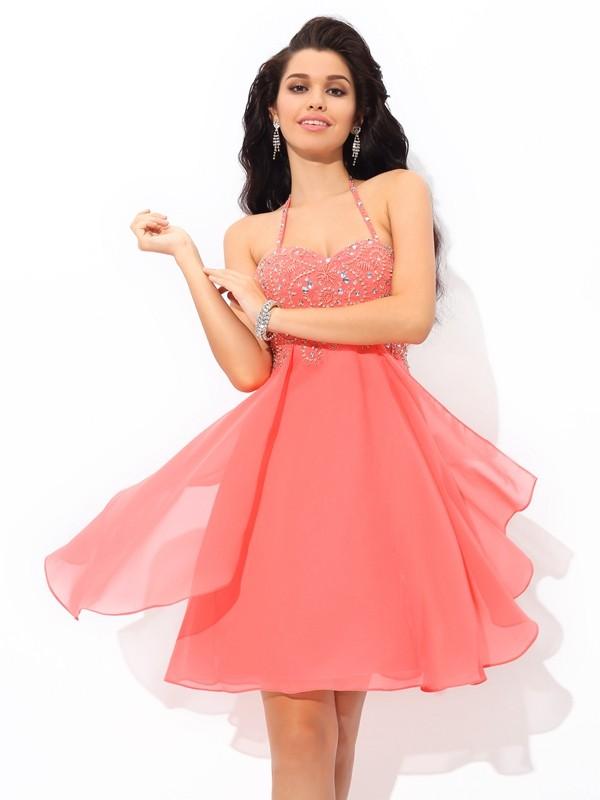 Short/Mini A-Line/Princess Halter Sleeveless Beading Chiffon Dresses