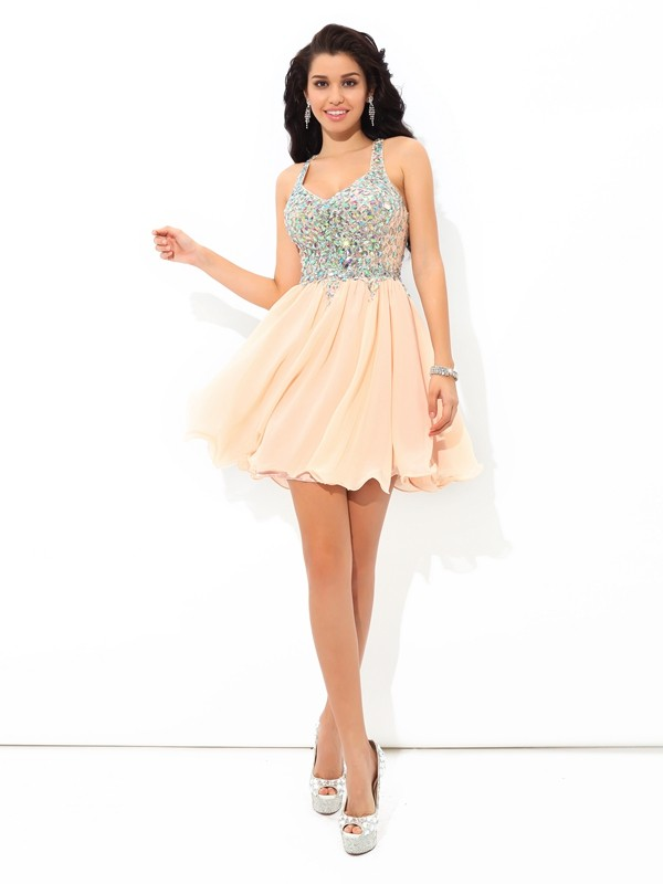 Short/Mini A-Line/Princess Straps Sleeveless Rhinestone Chiffon Dresses