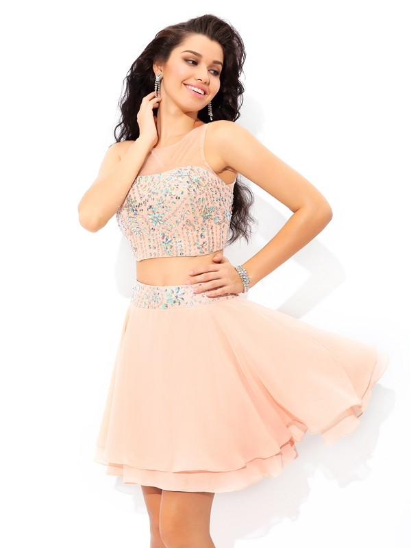 Short/Mini A-Line/Princess Sheer Neck Sleeveless Beading Chiffon Dresses