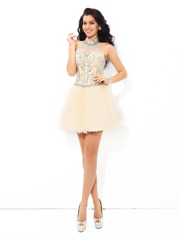 Short/Mini A-Line/Princess Halter Sleeveless Beading Satin Dresses