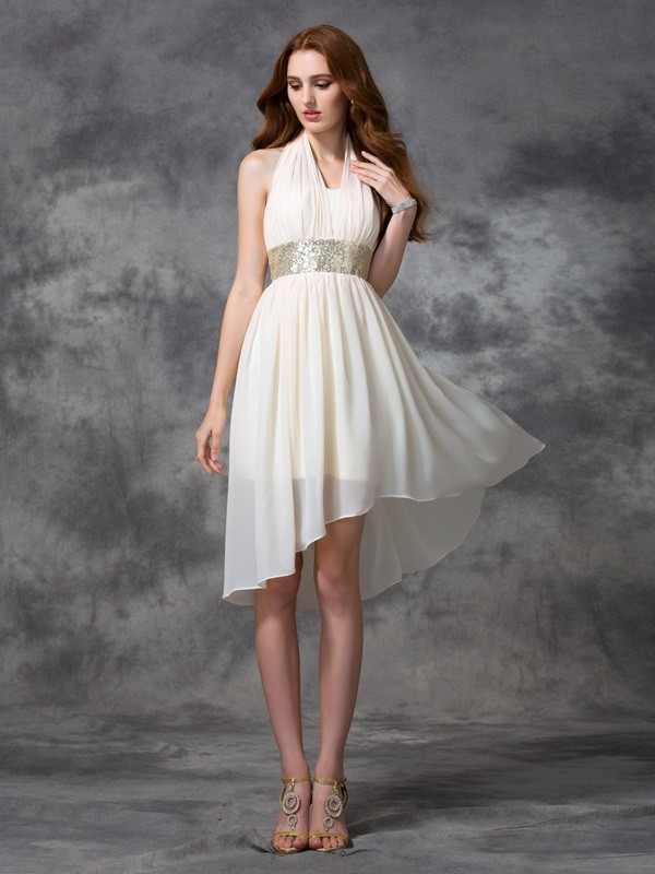 Asymmetrical A-Line/Princess Halter Sleeveless Sequin Chiffon Dresses