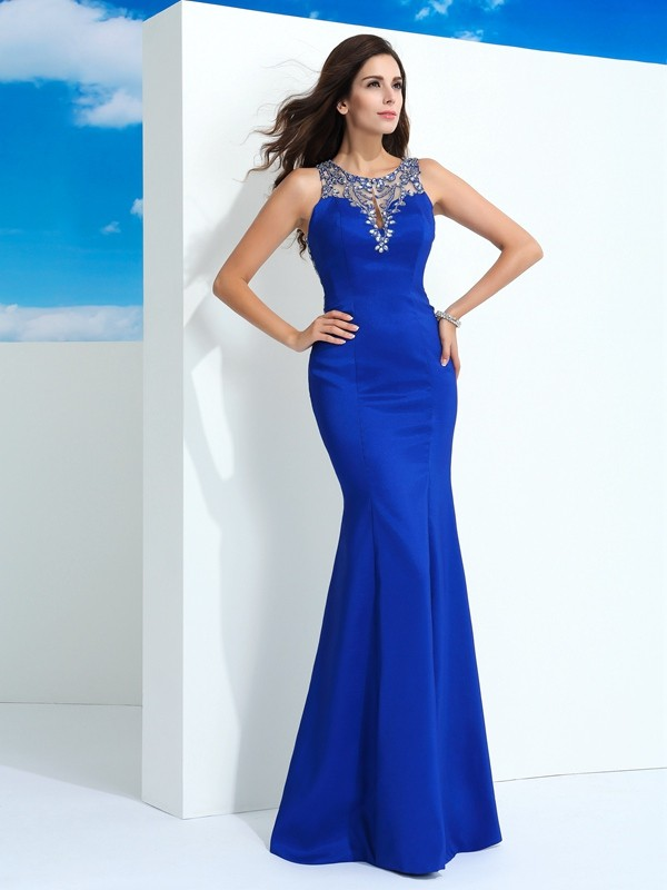 Floor-Length Sheath/Column Sheer Neck Sleeveless Beading Chiffon Dresses