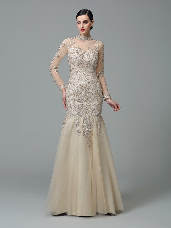 Floor-Length Sheath/Column High Neck Long Sleeves Applique Net Dresses