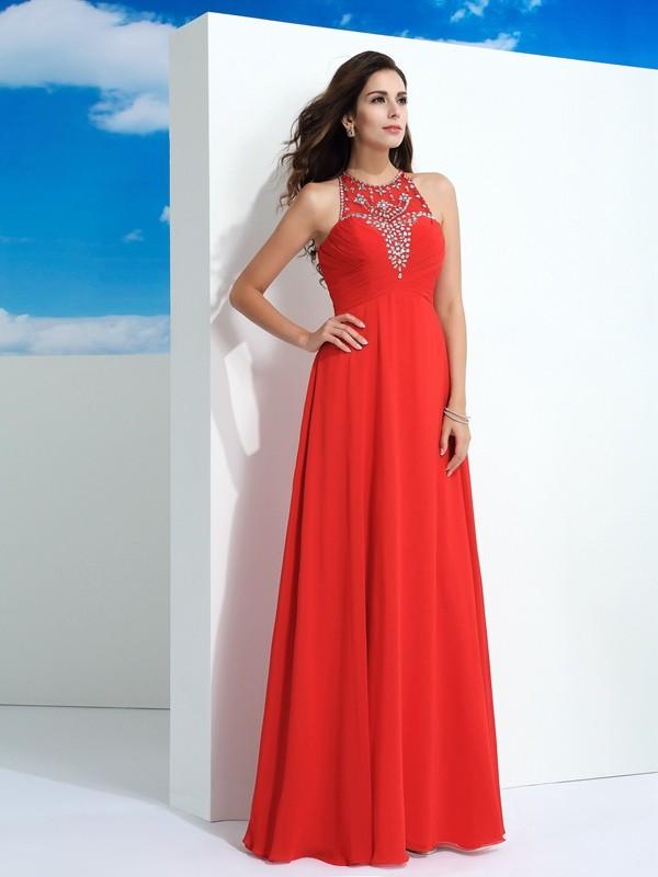 Floor-Length A-Line/Princess Sheer Neck Sleeveless Beading Chiffon Dresses