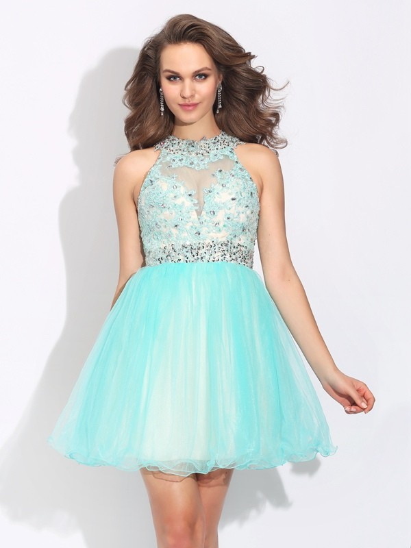 Short/Mini A-Line/Princess High Neck Sleeveless Lace Net Dresses