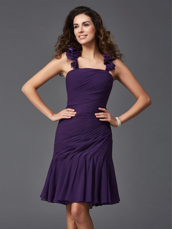 Short/Mini Sheath/Column Straps Sleeveless Ruched Chiffon Dresses