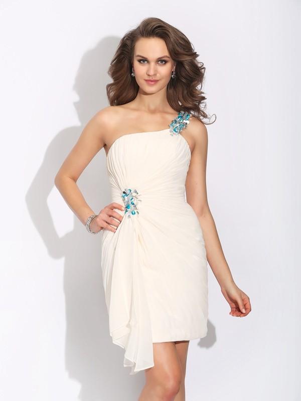 Short/Mini Sheath/Column One-Shoulder Sleeveless Beading Chiffon Dresses