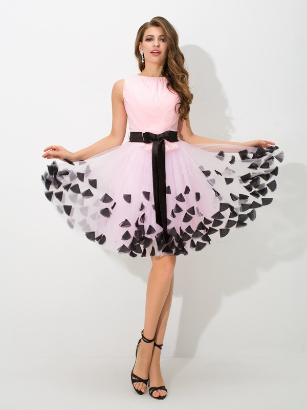 Short/Mini A-Line/Princess High Neck Sleeveless Bowknot Net Dresses