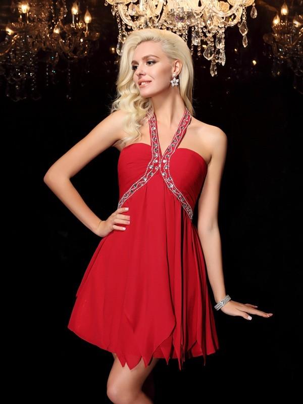 Floor-Length A-Line/Princess Halter Sleeveless Beading Chiffon Dresses