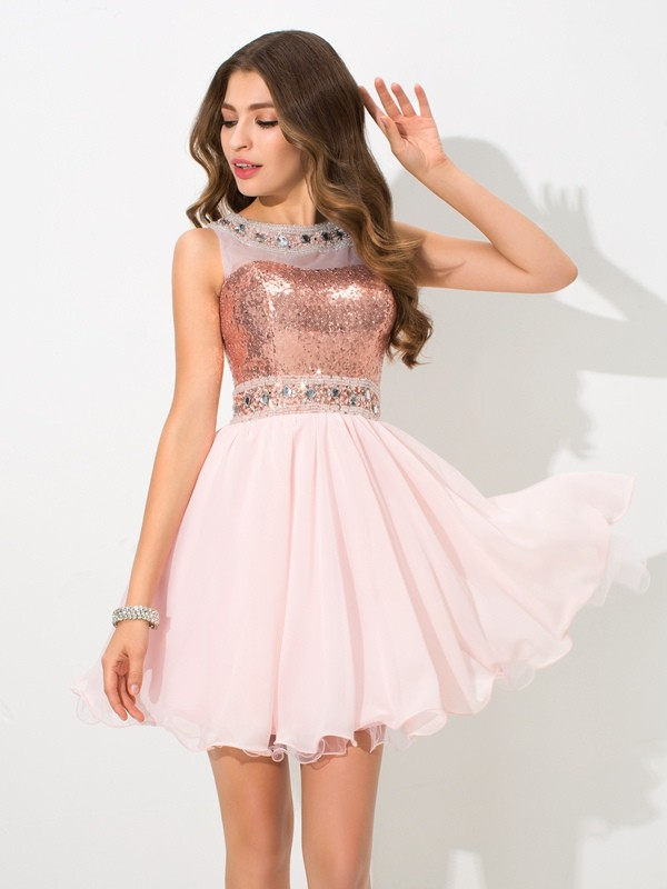 Short/Mini A-Line/Princess Sheer Neck Sleeveless Sequin Chiffon Dresses