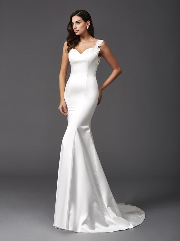 Sweep/Brush Train Trumpet/Mermaid Straps Sleeveless Beading Satin Wedding Dresses