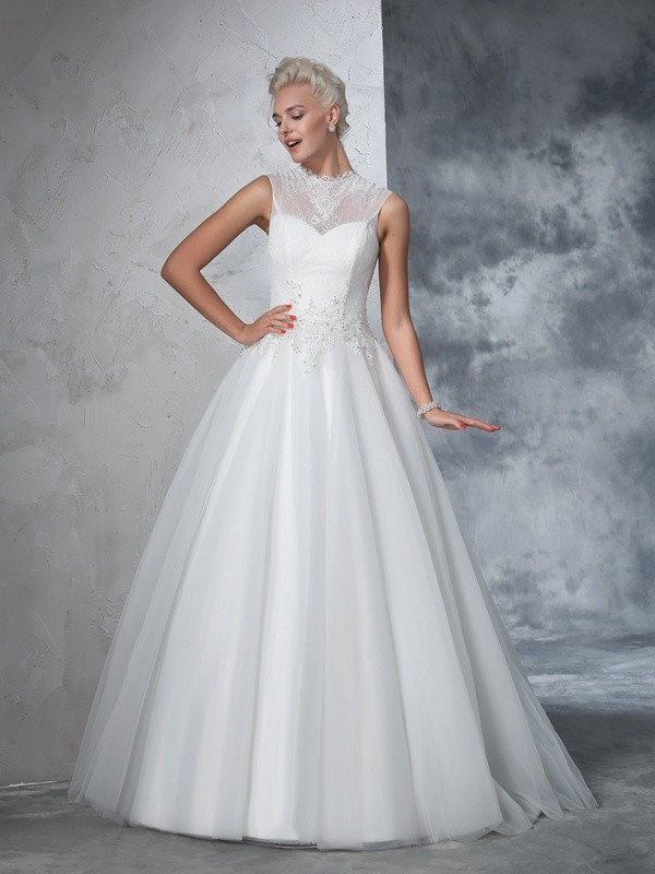 Floor-Length Ball Gown High Neck Sleeveless Applique Net Wedding Dresses