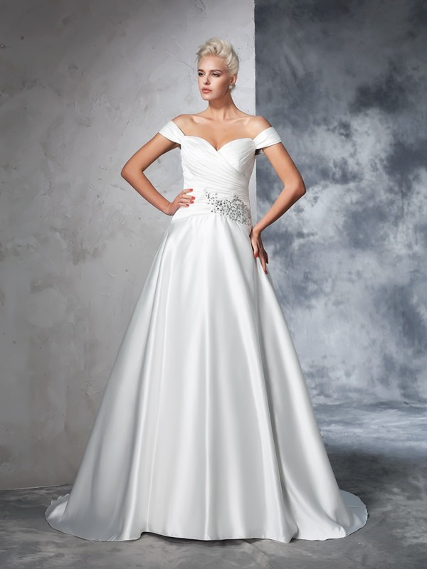 Chapel Train Ball Gown Off-the-Shoulder Sleeveless Ruched Taffeta Wedding Dresses