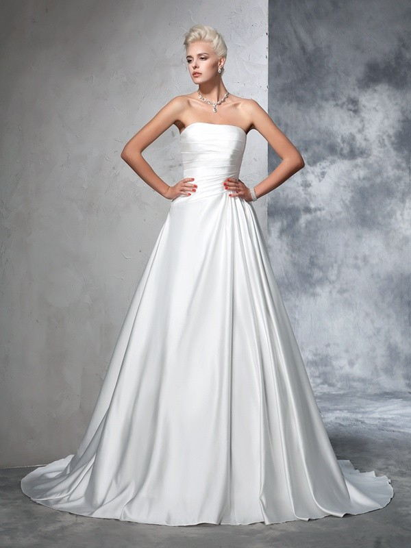 Chapel Train Ball Gown Strapless Sleeveless Ruched Satin Wedding Dresses