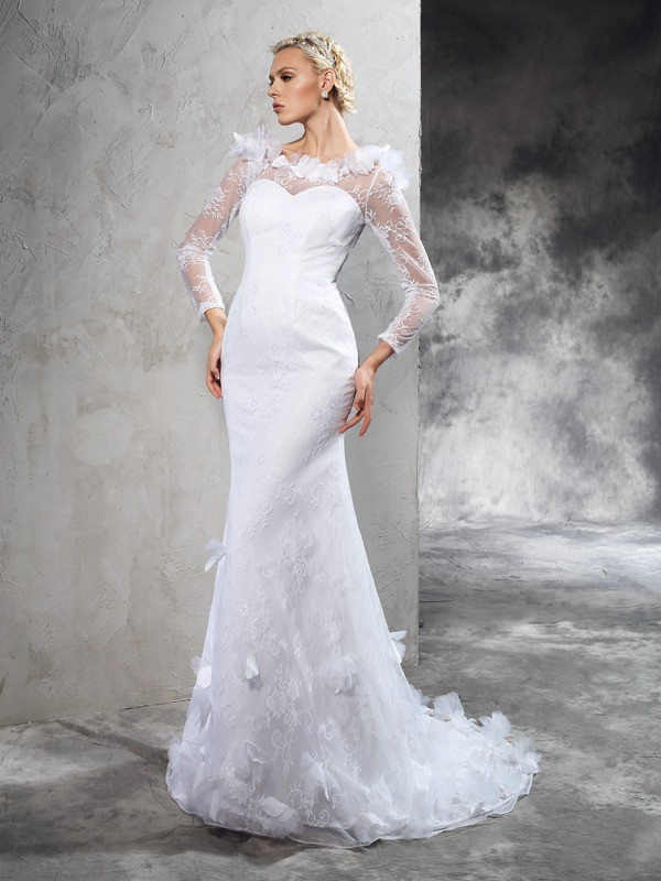 Court Train Sheath/Column Sheer Neck Long Sleeves Hand-Made Flower Satin Wedding Dresses