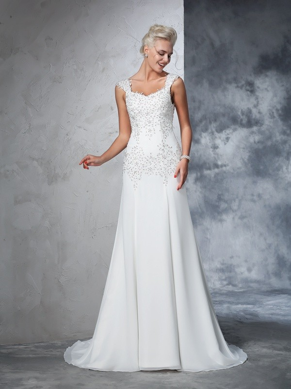 Court Train A-Line/Princess Straps Sleeveless Beading Chiffon Wedding Dresses