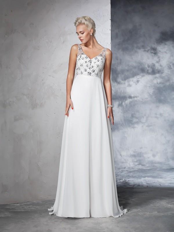Sweep/Brush Train A-Line/Princess V-neck Sleeveless Beading Chiffon Wedding Dresses