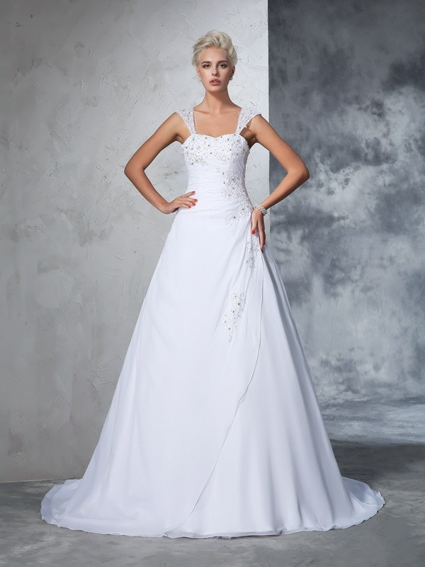 Court Train Ball Gown Straps Sleeveless Applique Chiffon Wedding Dresses