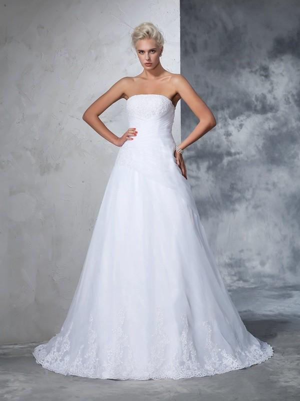 Court Train Ball Gown Strapless Sleeveless Applique Net Wedding Dresses