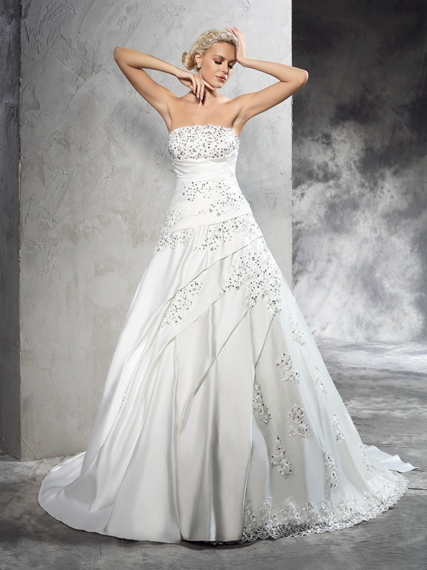 Court Train Ball Gown Strapless Sleeveless Beading Satin Wedding Dresses